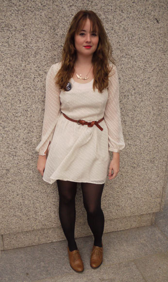 Cream dress and brogues