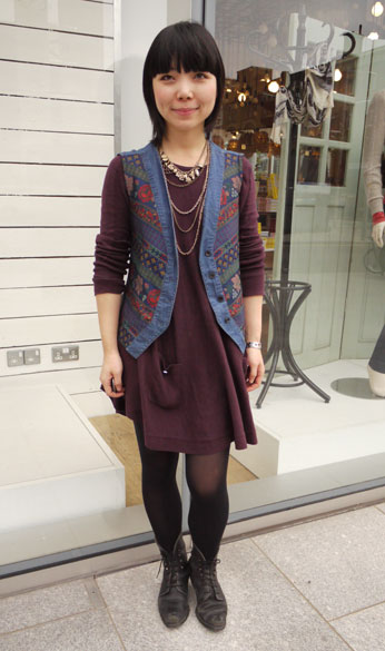 Knitted waistcoat and vintage boots