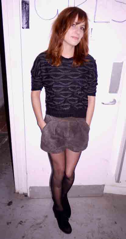 Sophia Heffer, vintage shorts and wooly jumper