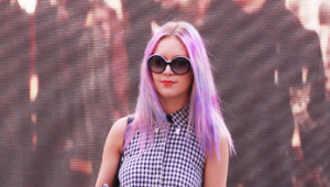 Lilac hair creepers LFW