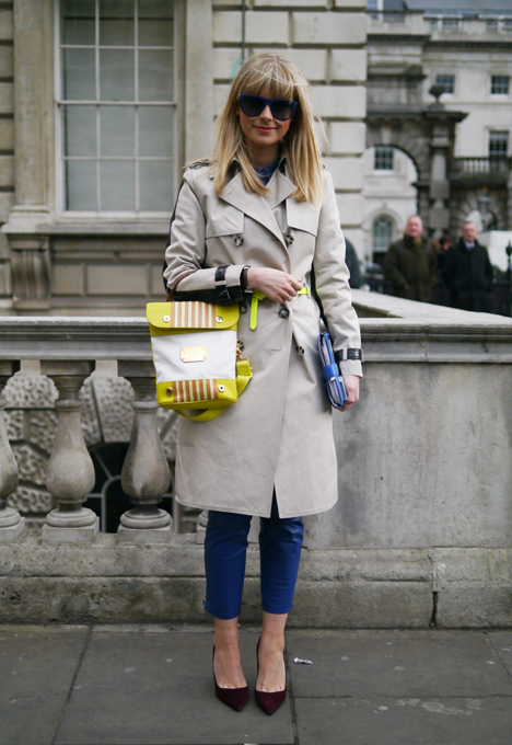 Trench Coat & Neon Bag