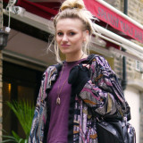 Street Style: Lucie Hollins in Disco Jacket for Evening Standard