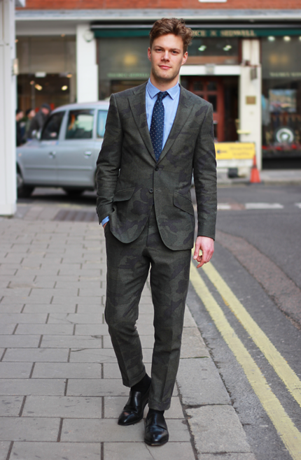 Artist Ewan M Wears A Camouflage Suit Shirt Tie And Shoes All From Richard James